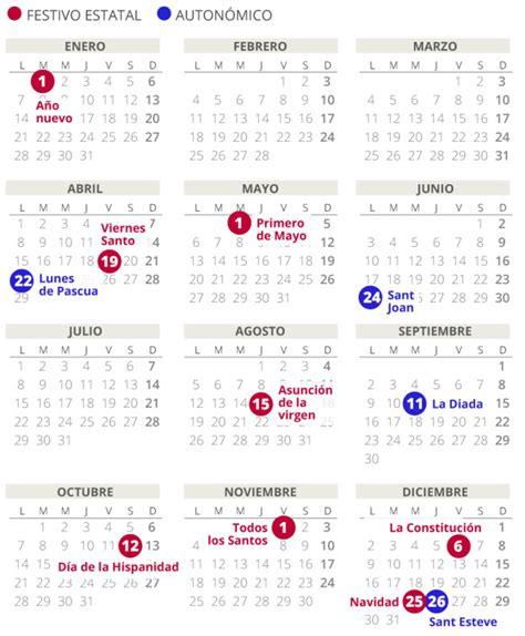 Calendario laboral del 2019 en Catalunya (con todos los ...