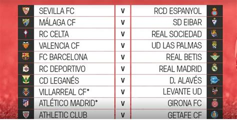 Calendario Liga Española 2017 2018| Fixture Almanaque