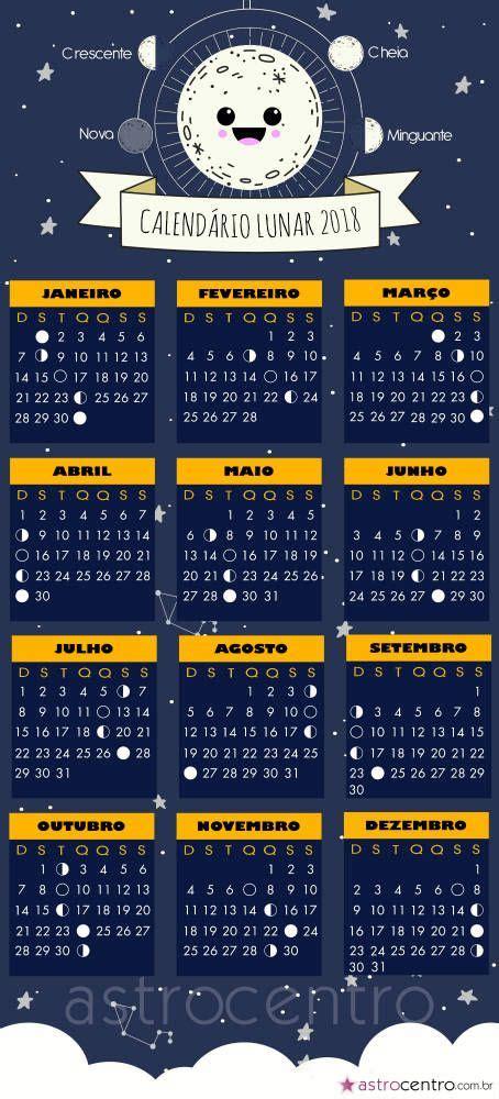 calendário lunar 2018   MAGIA   Pinterest   Astrología ...