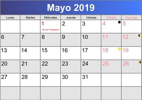 Calendario mayo 2019 imprimible PDF   abc calendario.es