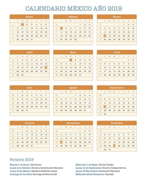 Calendario México Año 2019 | Feriados