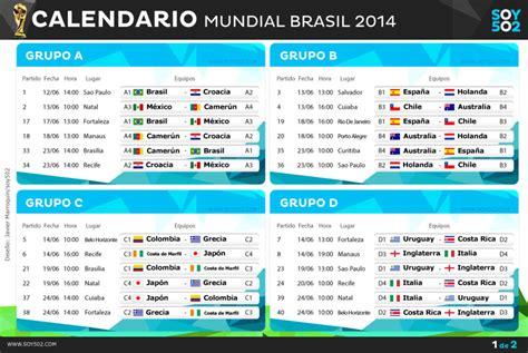 Calendario Mundial de Brasil 2014 – IDA DE MANOS