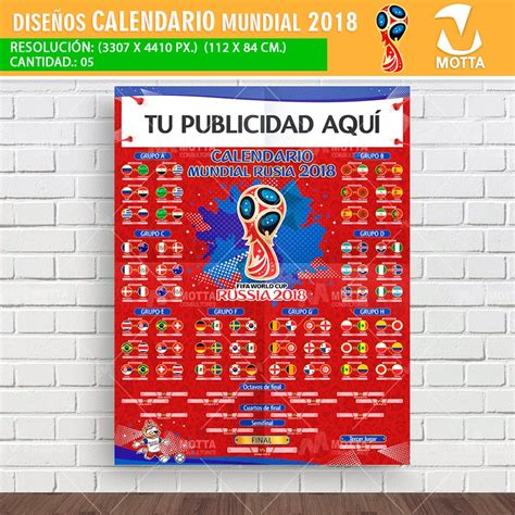 Calendario Mundial RUSIA 2018 Para Imprimir y Registrar ...