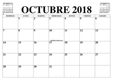 CALENDARIO OCTUBRE 2018   2019 : EL CALENDARIO OCTUBRE ...