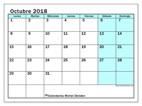 Calendario octubre 2018  59LD
