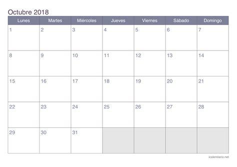 Calendario octubre 2018 para imprimir   iCalendario.net