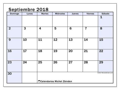 Calendario septiembre 2018 (57DS)
