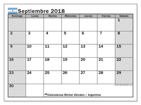 Calendario septiembre 2018, Argentina