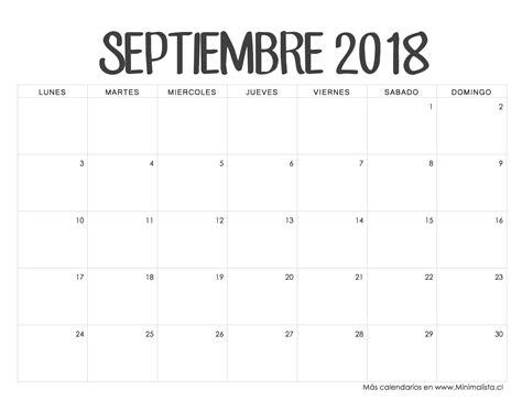 Calendario Septiembre 2018 | calendario 2017 | Pinterest ...