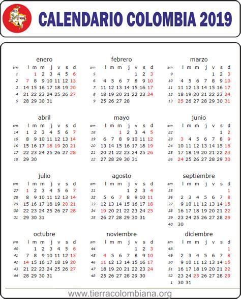 Calendario y festivos en Colombia 2019 - Tierra Colombiana