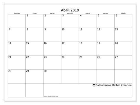 Calendarios abril 2019  DS