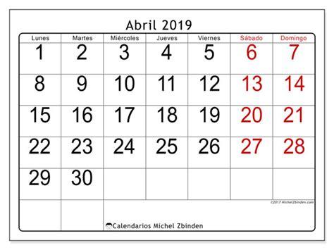 Calendarios abril 2019  LD