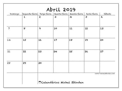 Calendários abril de 2019  DS