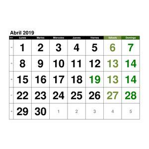 Calendario【Abril 2019】en formato EXCEL GRATIS