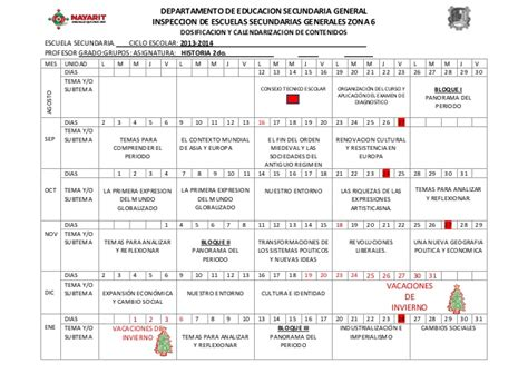 Calendarizacion de Historia I (2013-214)