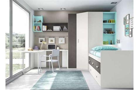 Cama compacta, armario grande con estantería y escritorio ...