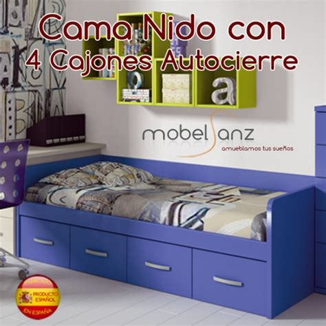 cama nido juvenil con 4 cajones autocierre