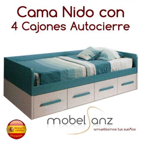 cama nido juvenil con 4 cajones con guias metalicas y ...