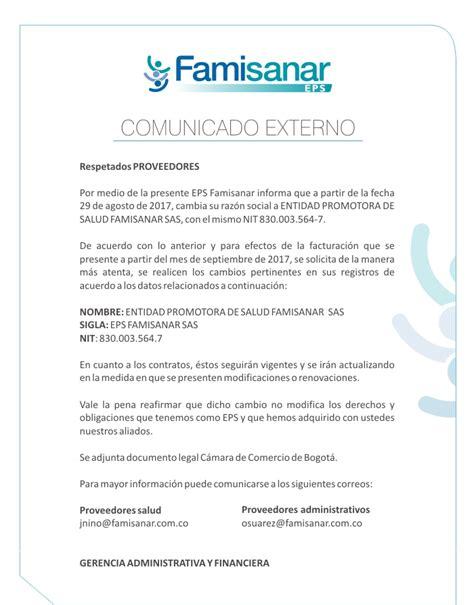 Cambio de Razón Social | EPS Famisanar