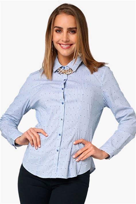 Camisa Dama Mujer Manga Larga Vestir Casual Azul Aditivo ...
