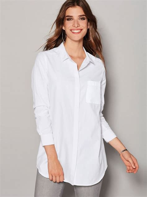 Camisa mujer con bolsillo de plastrón en el pecho tejido ...