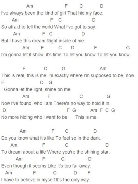 Camp Rock - This is Me Chords Capo 1   Guitar, ukulele and ...