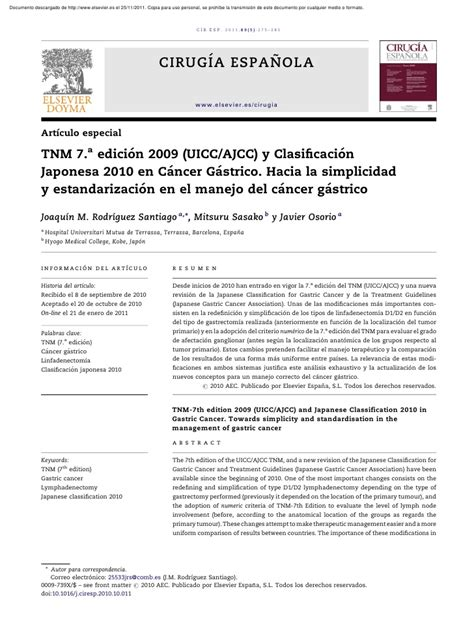 Cancer gastrico tnm japon