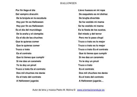 cancion de halloween para niños letra - Orientación ...