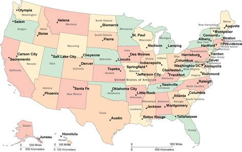 Capital Map Of Us