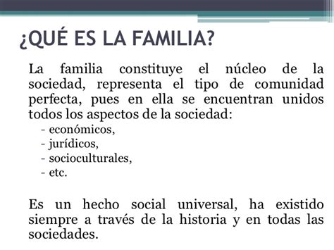 Caracteristicas de las familias actuales