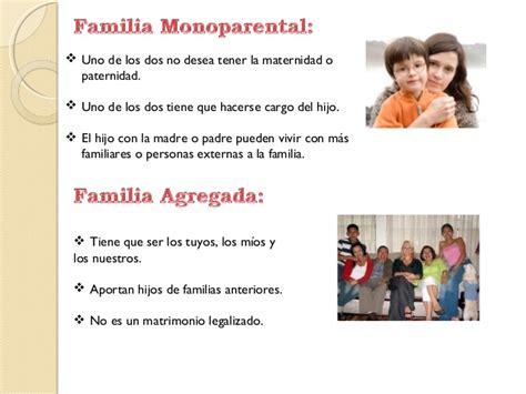 Caracteristicas de los distintos tipos de familia