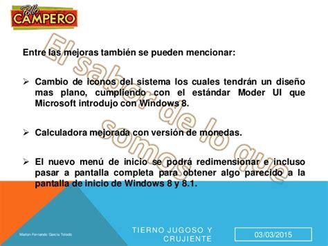 Caracteristicas del Sistema operativo Windows 8.1 / 10 y ...