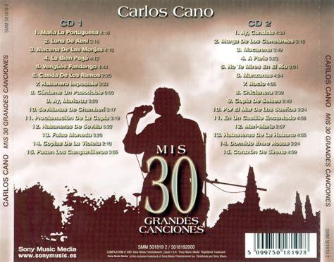 Carátula Trasera de Mis 30 Mejores Canciones de Carlos ...