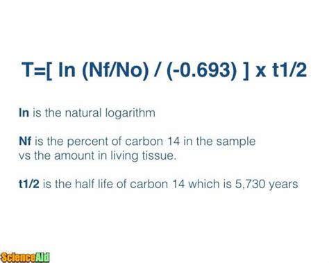 Carbon dating math formula