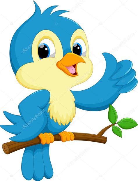 Caricatura lindo pájaro azul — Vector de stock © irwanjos2 ...