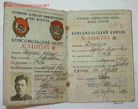 carnet partido comunista ruso, 1939; con foto - Comprar en ...