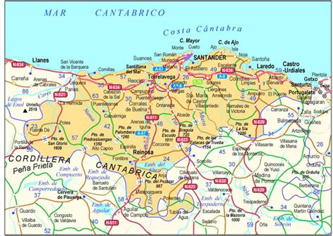 Carreteras de Cantabria - Tamaño completo