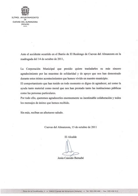 carta de agradecimiento | Telealmeria Noticias