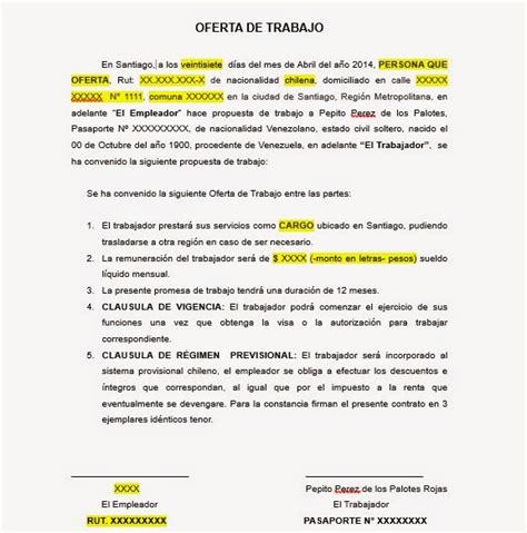 Carta de Oferta de Trabajo   Visa Temporaria Chile ~ Blog ...