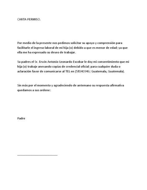 Carta Permiso Para Trabajar Para Menores de Edad