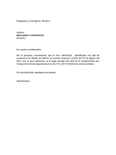 Carta Retiro de Cts Modelo