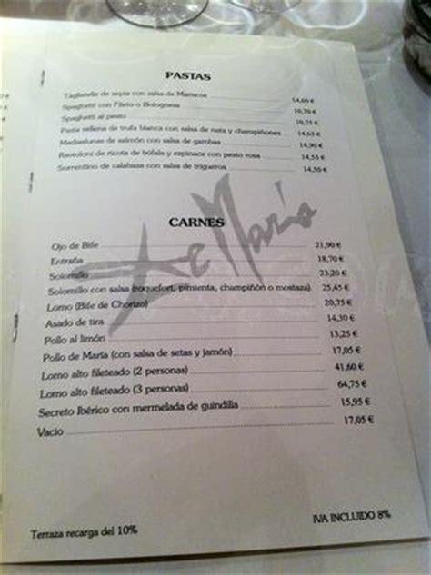 carta y menús de De María   restaurantes en Madrid   11870