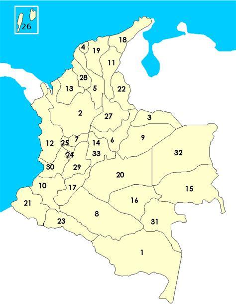 Carte Colombie vierge numéros régions, Carte vierge des ...