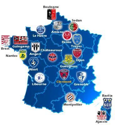 Carte de France des clubs de Ligue 2   le p tit monde de ...