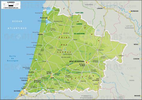 Carte des Landes   Landes carte des villes, communes ...