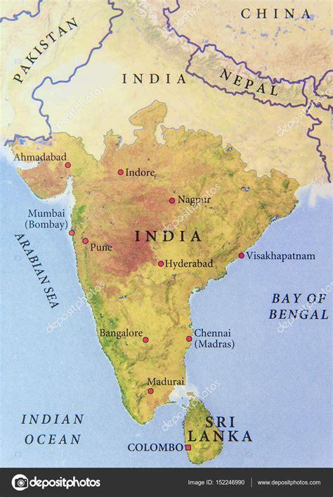 Cartina geografica dell'India con importanti città — Foto ...