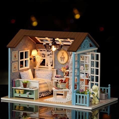 Casa De Muñecas De Madera En Miniatura Con Luz Led Y ...