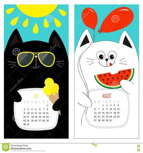 Cat Calendar 2017. Cute Funny Cartoon White Black ...