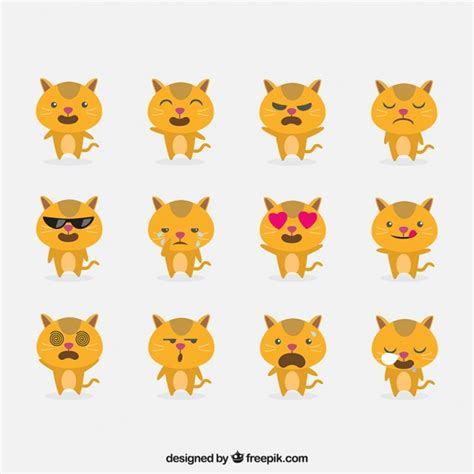 Cat emoticons with funny faces Vector | Free Download