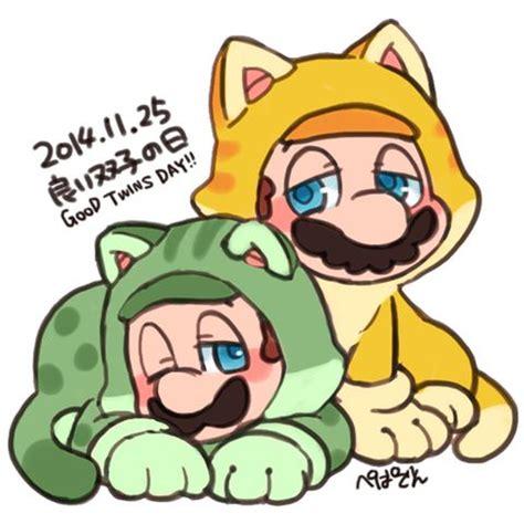 Cat Luigi & Cat Mario.   Mario   Pinterest   Cats and Mario